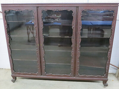 19th Century MAHOGANY 3 DOOR BOOKCASE 6' long Original finish shelves and glass!