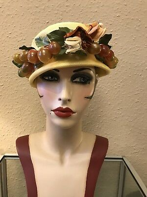 Stunning True Vintage 1950's Yellow Straw Cocktail Hat With Fruit