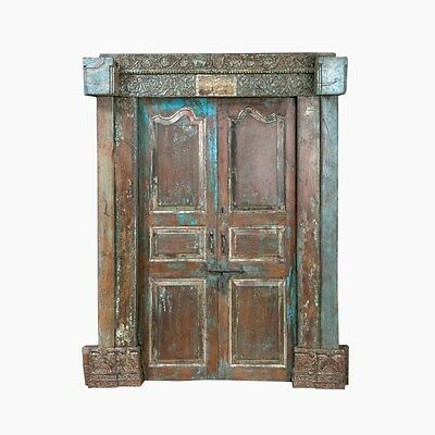 Antique  Hand Carved Wood Bhutan Rustic Double Entry Door