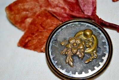 Antique Victorian Brass Wood Back Button Floral Flowers Metal Brown Steel LARGE