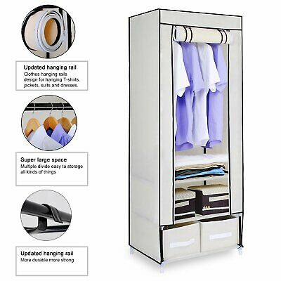Single Canvas Wardrobe 2 Drawers Clothes Storage Cupboard Hanging Rail Shelves