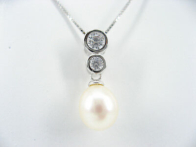925 Stamped Sterling Silver Real Freshwater Pearl Drop Pendant Chain Necklace