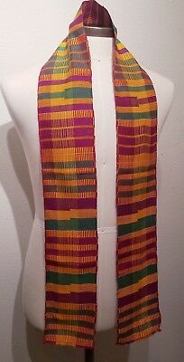 African Kente Cloth Stole Scarf, From Ghana, Purple Green Gold, Graduation