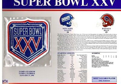 Super Bowl XXV Buffalo Bills vs NY Giants Willabee & Ward Football Jersey Patch