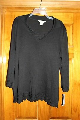 NWT Exclusively Misook Black Knit Top, Women's 2X