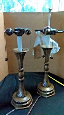 Pair Vintage Art Nouveau Stiffel Brass Double Arm 2-Light Table Lamps NO Shades