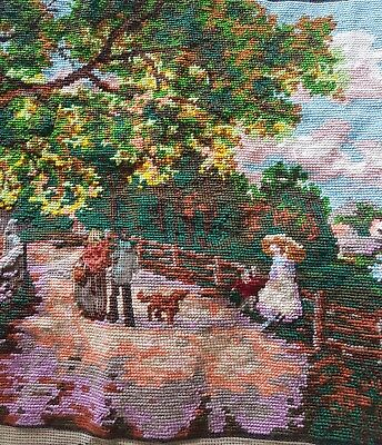 "Vintage French ""a Summer's Day"" D'apres W Gilbert Tapestry Large Textile Piece"