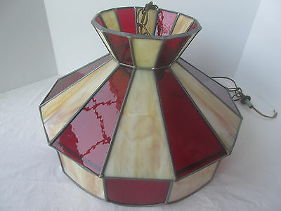 Leaded Stained Glass Slag Shade Hanging Ceiling Light Fixture LOCAL PICKUP ONLY