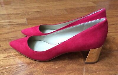 132b5fd849e ANN TAYLOR BETTE Suede mtl heel pump size 7 real red  128.00 Retail ...