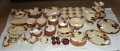 104 Pc. Lot Vintage Franciscan Ware Hand Painted Apple Dinnerware California