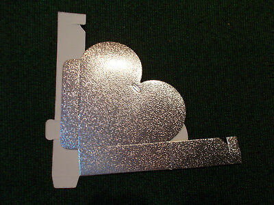 """Heart Shaped Small Cardboard Party Favor Gift Boxes Lot of 44 Silver 3 1/2"""""""