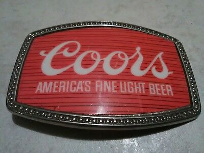 Vintage COORS BEER Retro 1970s RED Bar Promo Belt Buckle RARE