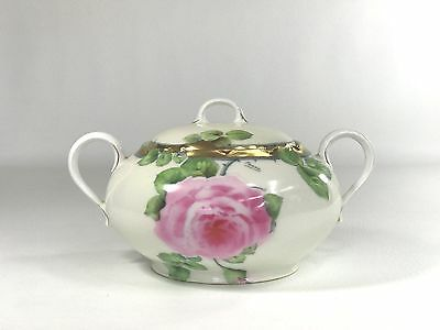 Antique P T Bavaria Germany China Hand Painted By Faune Pink Roses Lg Sugar Bowl