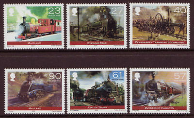 ISLE OF MAN SG1125-1130 2004 STEAM LOCOMOTIVES BICENTENARY Unmounted Mint