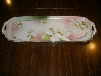 "Antique Porcelain MZ Austria Large Hand Painted Tray-Sandwich/Dessert 19"" Long"