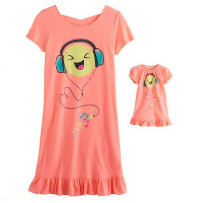 Girl 4-14 and Doll Matching Emoji Nightgown Clothes fit American Girl Dollie Me