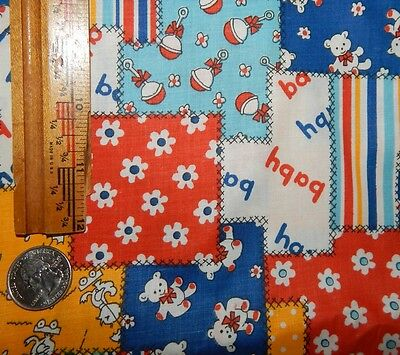 vintage cotton nursery print BTY cheater quilt infant blue yellow red juvenile
