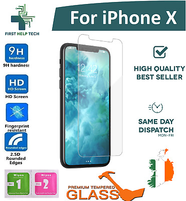 For Apple iPhone X 10 Premium Tempered Glass Screen Protector Cover Guard Film
