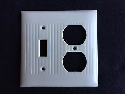 Vintage Sierra Electric Bakelite Ivory Combo Switch & Outlet Cover Plate