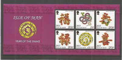Isle Of Man Sg Ms1803 Ms1804 2013 Year Of The Snake Pair Miniature Sheets ~ Um