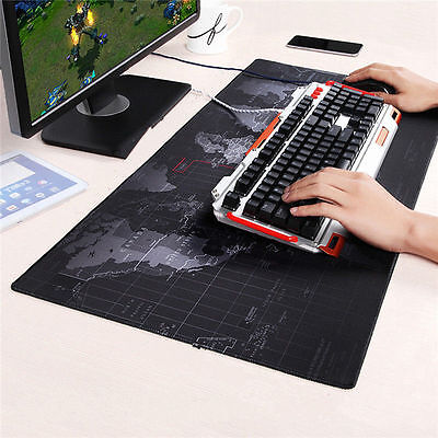 Large Non-Slip World Map Game Mouse Pad Mat For Laptop Computer Keyboard 80x30cm