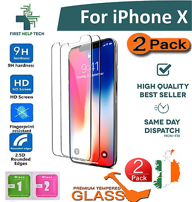 2 PCS For Apple iPhone X 10 - Premium Tempered Glass Screen Protector Guard Film