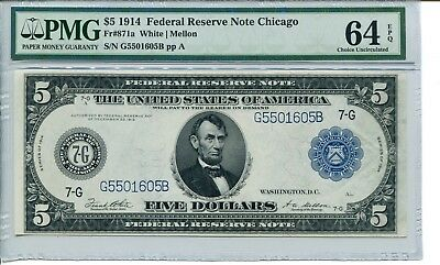 FR 871a 1914 $5 Chicago Federal Reserve Note 64 EPQ  Choice Uncirculated