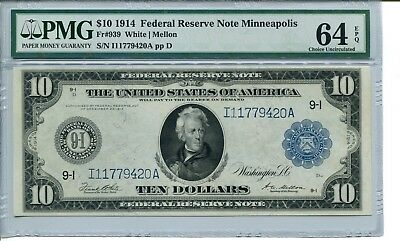 FR 939 1914 $10 Minneapolis Federal Reserve Note 64 EPQ  Choice Uncirculated