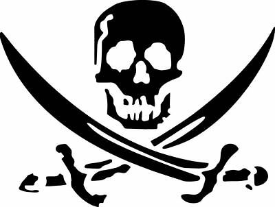 car laptop Skull and cross bones eye patch pirate decal sticker for wall etc