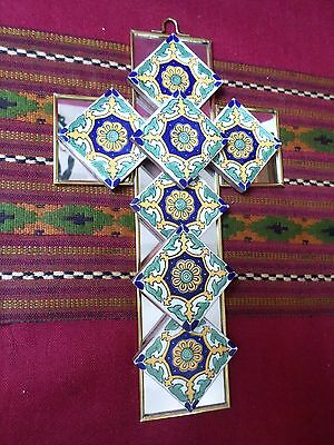 Mexican Folk Art Handmade Stained Glass Style Mirror Talavera Tile Cross 11x6""