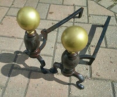 Fireplace andirons vintage brass cannonball castiron