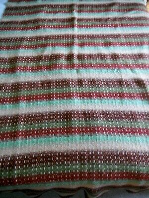 ANTIQUE LINSEY-WOOLSEY OVERSHOT HAND WOVEN COVERLET 19th CENTURY