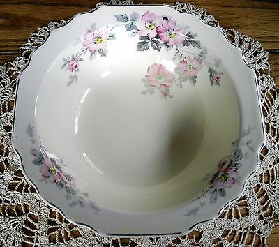W.S. George Lido CANARYTONE Serving Bowl w/ Pink Flowers ~