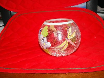 Fifth Avenue Crystal Candle Holder Crackled Glass