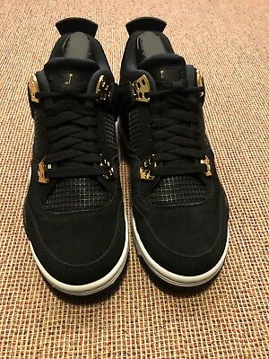Boys Air Jordan 4 Retro BG 408452 032 Black/Metallic Gold Brand New Size 6Y