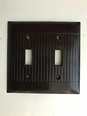 Vintage Mid Century Ribbed Brown Sierra Electric Double Switch Coverplate