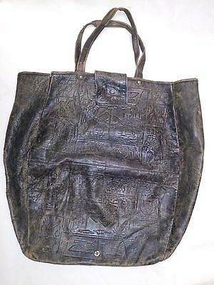 Antique Canvas Leather Embossed HandTooled Egyptian Pharaohs Pyramids Camels Bag
