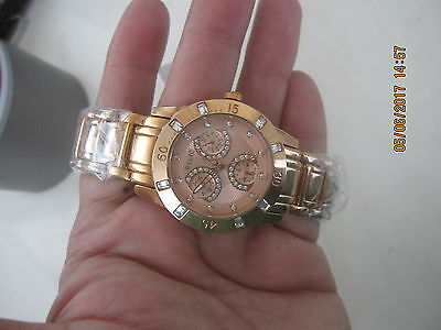 New  Relic By Fossil Women,s Rose Gold Tone White Crystals Watch Zr15668