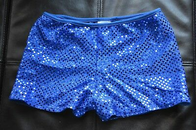 NWOT Booty Shorts Dance Gymnastic Cheer Blue Sequin Youth Small Spanx - 1