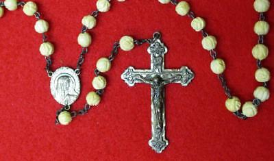 Antique Vintage Rosary Ivory Color Beads Hand Carved