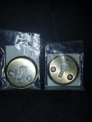 "Liberty 2"" Vintage Replica Antique Brass Round Keyhole Cover Lot Of 2 Covers"