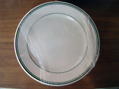 "6 Buffalo Niagara China Green Striped 9""  Plates New Unused Factory Sealed"