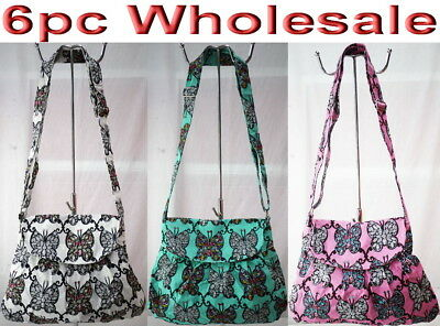 6pc Wholesale Long Canvas Butterfly Shoulder Crossbody Bag Girl Handbag Mixed