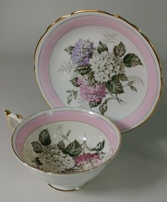 Paragon Double Warrant Tea Cup and Saucer By Appointment Pink hydrangeas fine