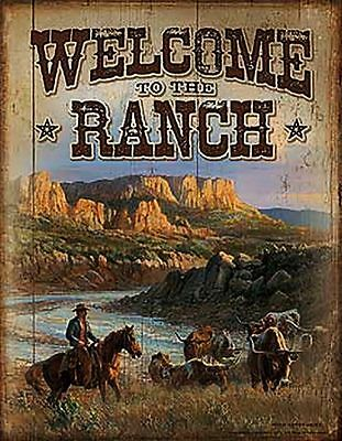 Cowboy Tin Sign Horse Welcome to the Ranch Longhorn Cattle Steer Mountains