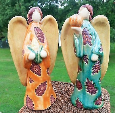 Angels Pumpkin Corn Leaves on Gown Harvest Fall No Face Ceramic Pair Lot of 2