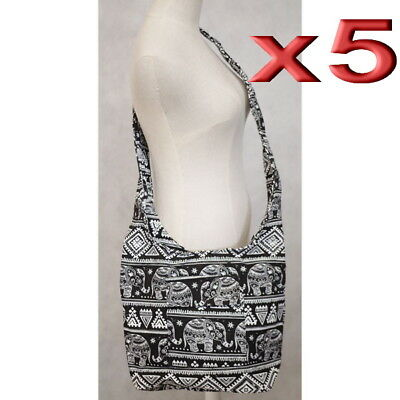 5pc Wholesale Long Elephant Canvas Shoulder Crossbody Bag Women Girl Handbag