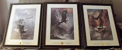 3Franklin Mint Ted Blaylock save the eagle double signed  framed lithographs COA