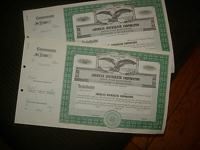 Stock Certificates lot of 2 numbered sequence Unissued Certificates