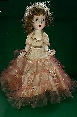 "1950s SWEET SUE Walker 14"" Doll RED HAIR GREEN EYES ORIGINAL VICTORIAN GOWN"